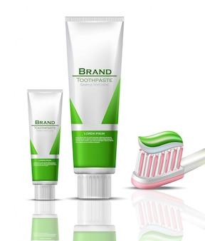 Макет реалистичной упаковки для зубной пасты. зеленые биопродукты пробирки и щетки