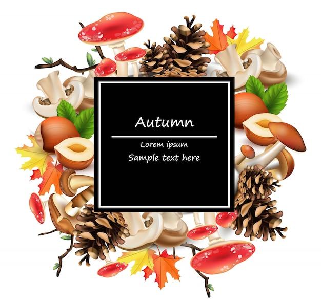 きのこ、ナッツ、葉、ピンチーネの森のカードのインテリア。秋の背景