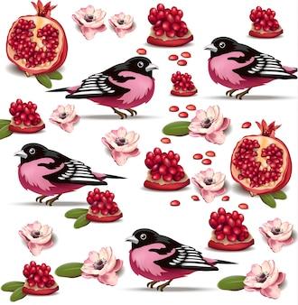 Розовая птица и рисунок плода граната