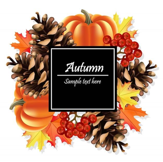 Осенняя открытка. тыква и разноцветные листья