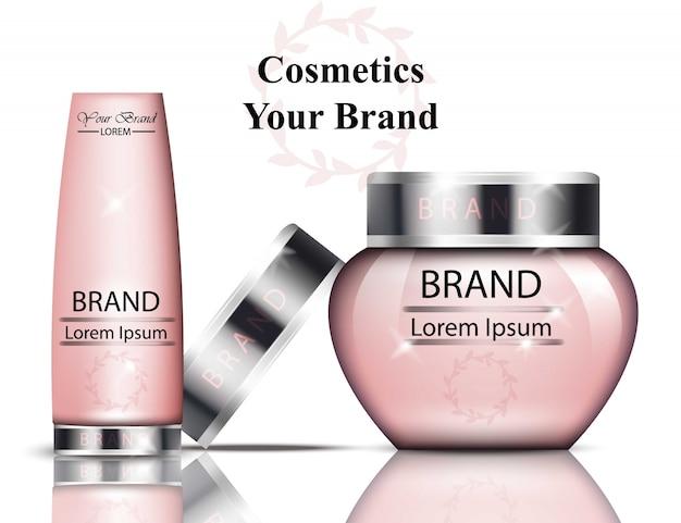 ピンクの化粧品包装のベクトル現実的。ハイドレーションクリームとトニック。ブランドテキスト
