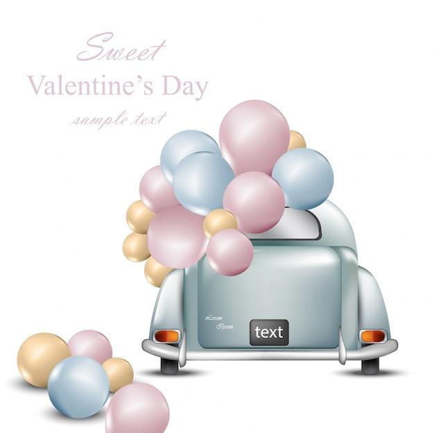 風船とヴィンテージレトロ車。バレンタインデーカードベクトル。グリーティングカードロマンチックなデザイン