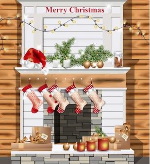 クリスマスの装飾と白い暖炉ベクトル現実的