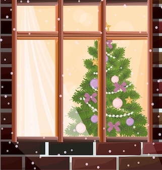 クリスマスツリーの背景とウィンドウビューベクトル図