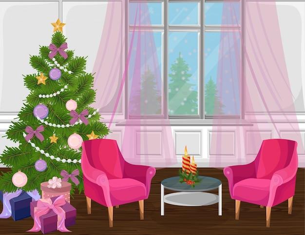 クリスマスツリーベクトルとクラシックリビングルームのインテリア