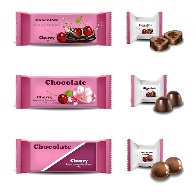 Вишневый шоколад вектор реалистичный. макет дизайна логотипа торговой марки