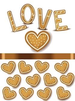 心臓の形のクッキーベクトル現実的な