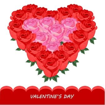 赤いバラのハート形ベクトルカード。ロマンチックな花のテンプレート