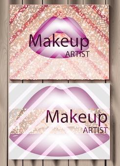 紫の唇の背景を持つ抽象的なギフトカードを作る