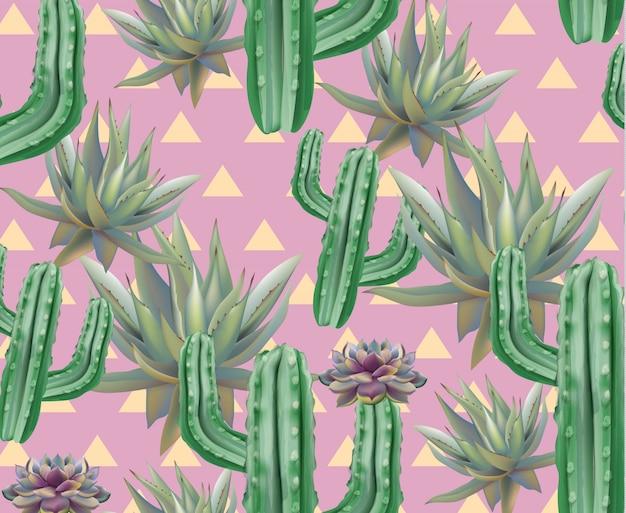緑のサボテンパターンのテクスチャ、ピンクの背景
