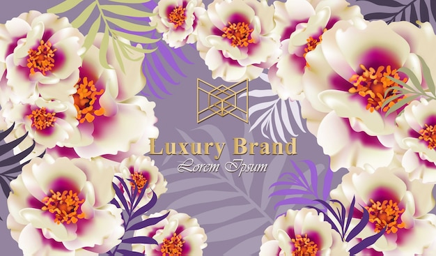 繊細な花とラグジュアリーカードベクトル。ブランドブック、名刺、ポスターのための美しいイラスト。ピンクの背景。テキストのための場所