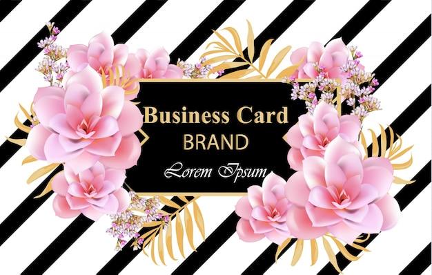 繊細な花と抽象的なデザインカードベクトル。名刺、ブランドブック、ポスターの背景