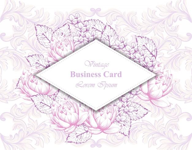 花のヴィンテージカードベクトル。ブランドブック、名刺、ポスターのための美しいイラスト。ピンクの背景。テキストのための場所