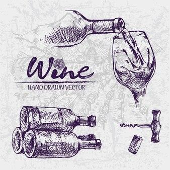 Деталь линии рисованной винной бутылки иллюстрации