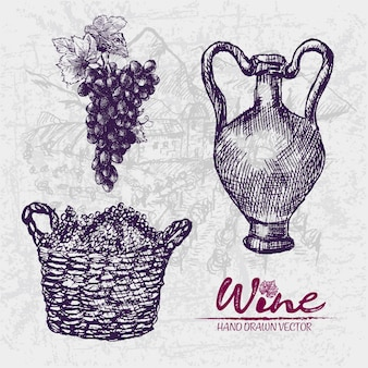 Подробный рисунок линии рисованной фиолетовой корзины винограда иллюстрации