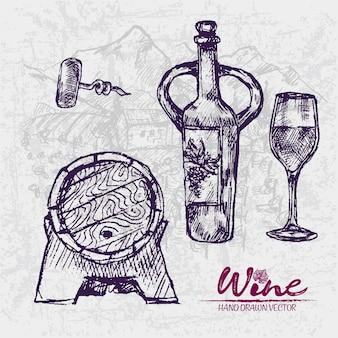 Подробный рисунок линии рисованной фиолетовой винной бочки иллюстрации
