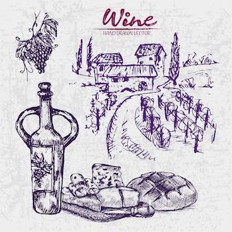 詳細なラインアート手描きの紫色のワイナリーのイラスト