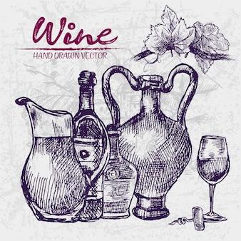 Подробное рисование рисованных фиолетовых бутылок вина