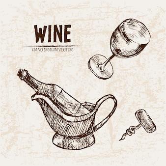 Деталь линии рисованной бутылки вина иллюстрации
