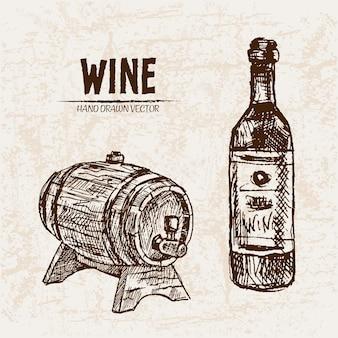 Иллюстрация рисованной винной бочки