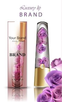 Бальзам для губ с косметикой из розового цветка