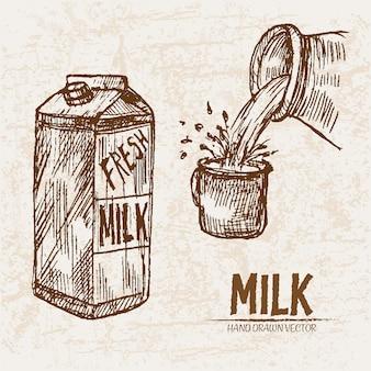 Детальное линейное искусство, выливающее молоко в чашку