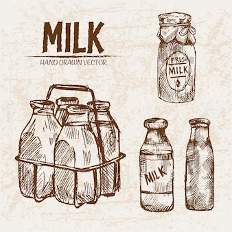 Детальное молоко линии в разных бутылках