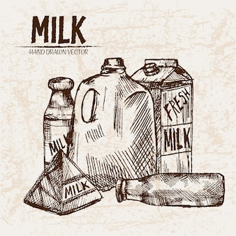Подробное художественное свежее молоко в разных упаковках