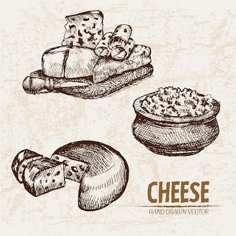 Детальное линейное искусство нарезанного сыра с отверстиями