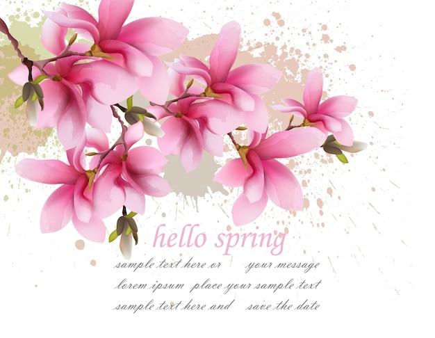 Привет, весенняя розовая акварельная цветочная открытка