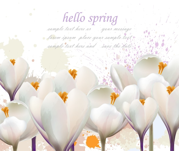 Привет, весенняя акварельная цветочная открытка