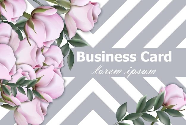 Винтажная визитная карточка с розами