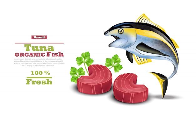 新鮮なマグロ魚と赤いステーキ