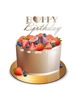 С днем рождения торт с ягодными фруктами