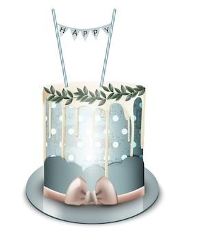 С днем рождения торт с белым шоколадом