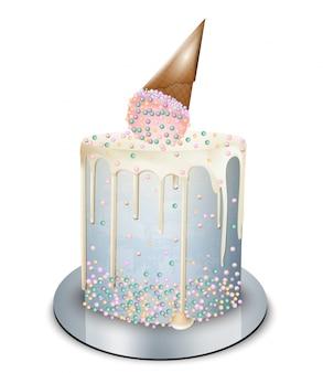 Современный конус мороженого торта сверху