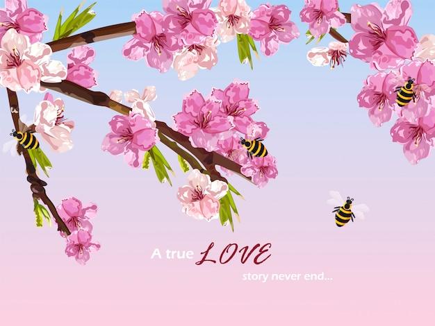 桜の花の春のカード