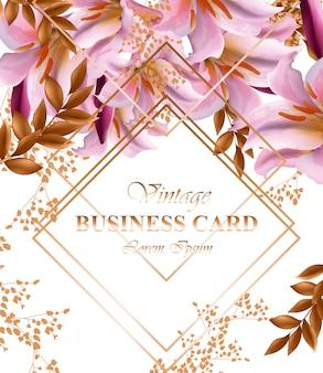 Визитная карточка с розовыми цветами