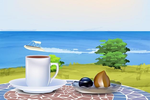 夏の海の背景にコーヒーとオリエンタルスイーツ