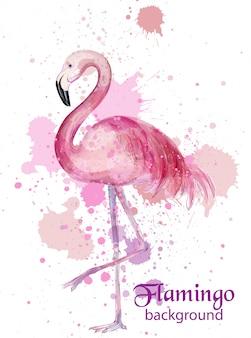 Винтажная акварельная карта фламинго