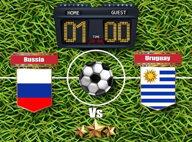 ロシア対ウルグアイサッカースコアボード