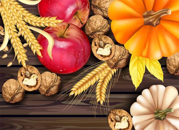 Коллекция осенних фруктов и овощей
