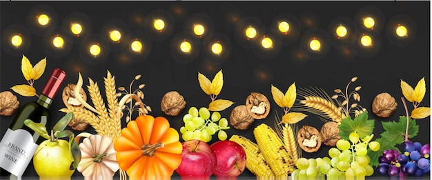 秋の果物と野菜のコレクション