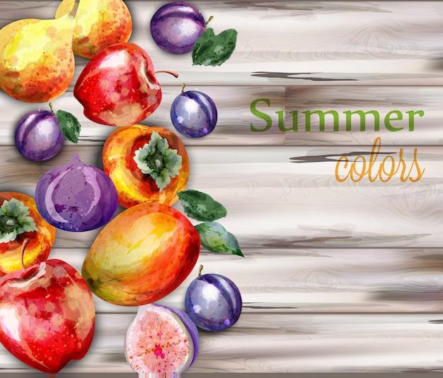 Акварельные фрукты на деревянном фоне