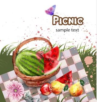水彩夏のピクニック