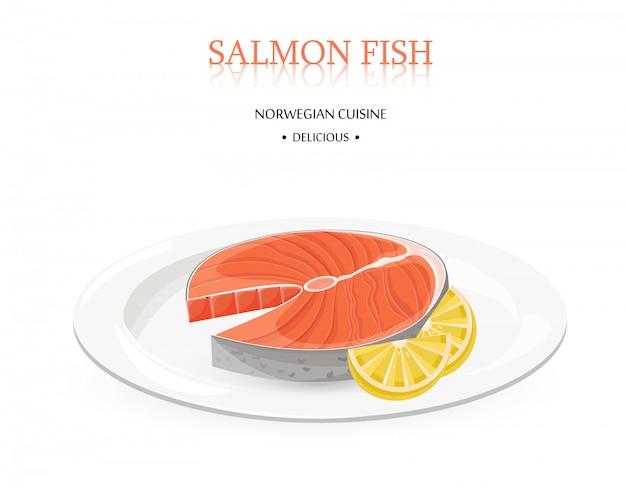 Стейк из рыбы из лосося в норвегии с лимоном