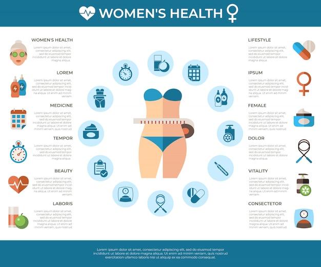 Коллекция значков здоровья женщины