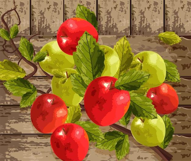 Акварельные яблоки на деревянном фоне