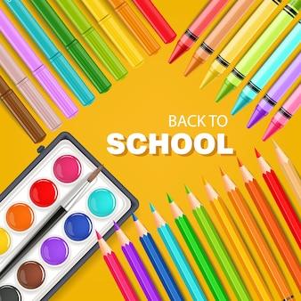 カラフルな鉛筆で学校のカードに戻る