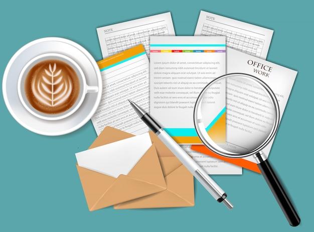 現実的なセットのコーヒーと文書